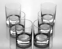 Комплект 6 пустых стекел для воды Стоковое Фото