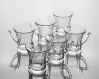 Комплект 6 пустых чашек чаю с ручкой Стоковое фото RF