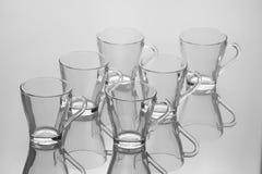 Комплект 6 пустых чашек чаю с ручкой Стоковая Фотография