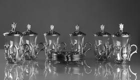 Комплект 6 пустых чашек чаю Стоковая Фотография RF