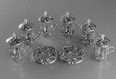 Комплект 6 пустых чашек чаю Стоковое Изображение RF