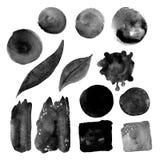 Комплект пятен акварели в grimy сером цвете Стоковые Фото