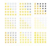 Комплект пятизвездочных значков оценки Оценка звезды в различных стилях также вектор иллюстрации притяжки corel EPS10 Изолированн Стоковое Фото