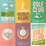 Комплект плаката гольфа иллюстрация вектора