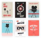 Комплект плаката ночи кино Плакаты рекламы событий кино различные вектор каникулы цветастой иллюстрации принципиальной схемы осла бесплатная иллюстрация