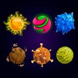 Комплект планеты шаржа фантазии иллюстрация вектора