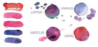 Комплект планет и ходов акварели космоса, изолированный на белой предпосылке Покрашенная акварель пробела дизайна формы округленн иллюстрация штока