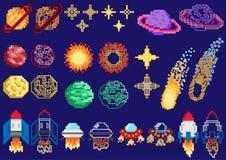 Комплект планет пиксела иллюстрация вектора