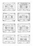 Комплект пластичной кассеты, ленты звукозаписи с различной музыкой вычерченное JPEG иллюстрации руки eps ретро Стоковое Фото
