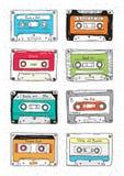 Комплект пластичной кассеты, ленты звукозаписи с различной музыкой вычерченное JPEG иллюстрации руки eps ретро иллюстрация штока