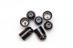 Комплект пластичных и керамических электрических cartriges для шарика изолированного на белизне Взгляд сверху Стоковое фото RF