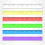 Комплект пластмассы правители в 30 сантиметров в других цветах Стоковые Фотографии RF