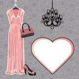 Комплект платья, ботинка, сумки с картиной Пейсли Стоковые Изображения