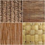 Комплект плетеных деревянных текстуры или предпосылки Стоковые Изображения RF