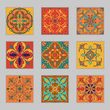 Комплект плиток португалки вектора Красивые покрашенные картины для дизайна и моды с декоративными элементами стоковое фото