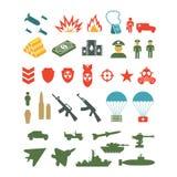 Комплект плоских воинских значков infographics иллюстрация штока