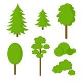 Комплект плоских деревьев Стоковые Изображения