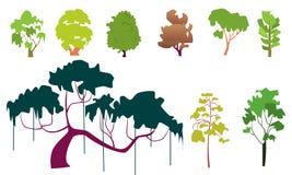Комплект плоских деревьев бесплатная иллюстрация