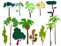 Комплект плоских деревьев иллюстрация штока