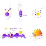 Комплект 5 плоских знамен на теме космоса на белой предпосылке Стоковое Изображение