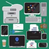 Комплект плоских значков идеи проекта конторских машин Стоковые Изображения RF