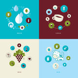 Комплект плоских значков идеи проекта для пить Стоковые Изображения RF
