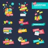 Комплект плоских значков и лент дизайна для ходить по магазинам Стоковые Фото