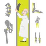 Комплект плоских значков от хирургии и Orthopedics иллюстрация штока