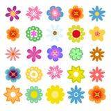 Комплект плоских значков цветка в силуэте Милый ретро дизайн в ярких цветках цветов Стоковое фото RF