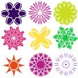 Комплект плоских значков цветка значка в силуэте изолированном на белизне Милый ретро дизайн в ярких цветах для стикеров, ярлыков Стоковое Изображение RF