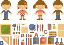 Комплект плоских значков школы иллюстрация штока