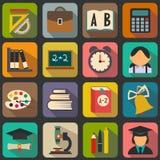 Комплект плоских значков школы Стоковые Изображения RF