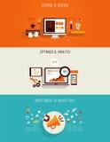 Комплект плоских значков для веб-дизайна Стоковое Изображение RF