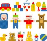 Комплект плоских значков для детей иллюстрация вектора