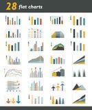 Комплект 28 плоских диаграмм, диаграмм для infographic Стоковые Изображения