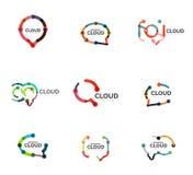 Комплект плоских линейных логотипов облака речи дизайна Поговорите пузыри, современную геометрическую промышленную тонкую линию з иллюстрация штока