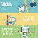 Комплект плоских идей проекта для образования, онлайн Стоковое Изображение