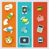 Комплект плоских идей проекта для стратегии бизнеса и компьютера p бесплатная иллюстрация