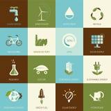 Комплект плоских конструированных значков экологичности Стоковое Изображение