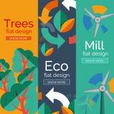 Комплект плоских концепций eco дизайна Стоковое Изображение