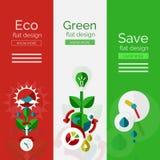 Комплект плоских концепций eco дизайна Стоковая Фотография RF
