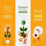 Комплект плоских концепций eco дизайна Стоковые Фотографии RF