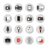 Комплект плоских красочных значков публицистики вектора MASS. иллюстрация штока