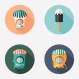 Комплект плоских круглых значков конусы шоколада предпосылки cream мороженое льда над белизной ванили клубники фисташки Магазины  бесплатная иллюстрация