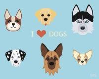 Комплект плоских милых собак шаржа Стоковое Изображение