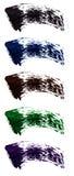 Комплект плоских образцов туши Ходы щетки различных теней туши Красочные свирли изолированные на белой предпосылке Стоковые Фото