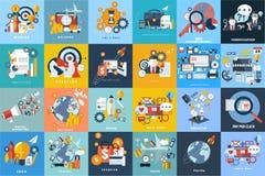 комплект плоских предпосылок: туризм, дело, образование, маркетинг Стоковое Изображение