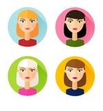 Комплект плоских причесок девушек значков стиля Стоковые Изображения