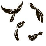 Комплект плоских птиц на белой предпосылке иллюстрация вектора