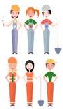 Комплект плоских работников и построителя женщин иллюстраций вектора Стоковое Изображение